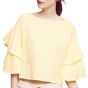 NWT Lilka Yellow Tiered Ruffle Lora Crop Blouse
